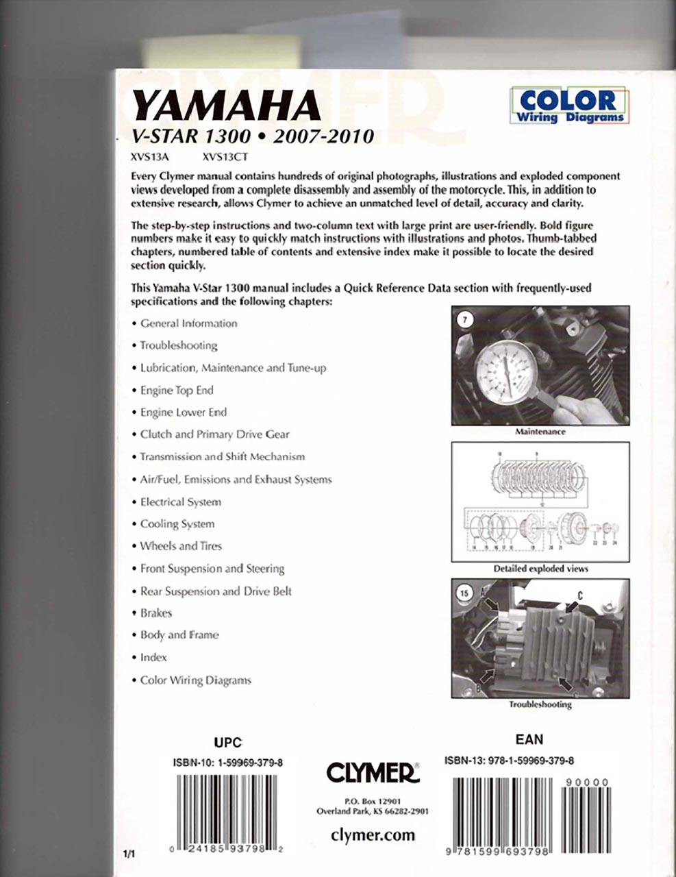 V Star 1300 Oil Change Problem Wiring Diagram Clymer Manual Back Cover